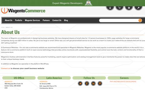 Screenshot of About Page wagento.com - Custom Magento Programming About Us - captured Sept. 19, 2014