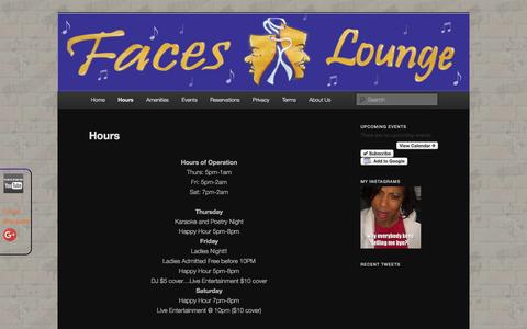 Screenshot of Hours Page facesjazzblues.com - Hours | Faces Jazz and Blues Lounge - captured March 3, 2016
