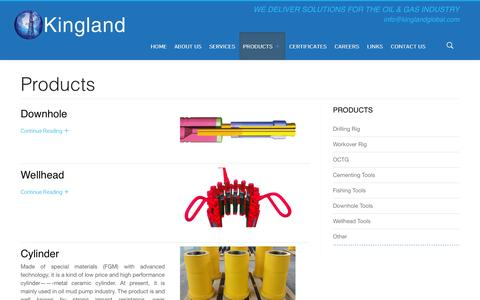 Screenshot of Products Page kinglandglobal.com - Products | Kingland Global Trading, Inc. - captured Oct. 6, 2014