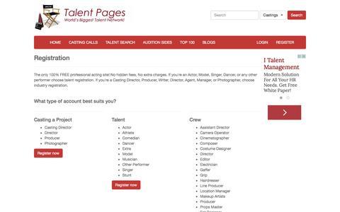 Screenshot of Signup Page talentpages.com - REGISTRATION | Talent Pages - captured Jan. 17, 2016