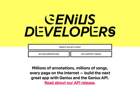 Screenshot of Developers Page genius.com - Genius | Annotate the World - captured Nov. 25, 2015