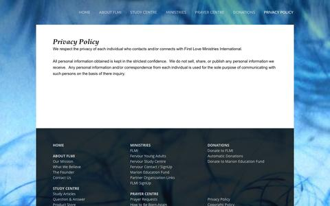 Screenshot of Privacy Page ps27fr.org - Privacy Policy - First Love Ministries International - captured Feb. 10, 2016
