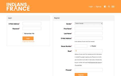 Screenshot of Signup Page indiansinfrance.com - INDIANS FRANCE - captured June 5, 2018