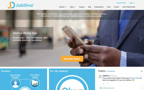 Screenshot of Home Page jobdiva.com - Applicant Tracking Software | Staffing Solutions | JobDiva - captured June 8, 2017