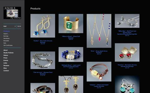 Screenshot of Products Page adorabysimona.com - ADORA by Simona — Products - captured Sept. 30, 2014