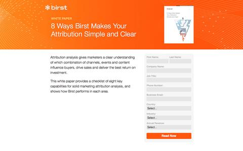 Screenshot of Landing Page birst.com - Birst | 8 Ways Birst Makes Your Attribution Simple and Clear - captured Aug. 18, 2016