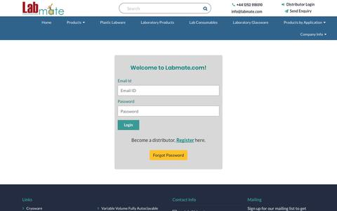 Screenshot of Login Page labmate.com - Plastic Labware | Lab Consumables | Laboratory Products | Labmate - captured Sept. 26, 2018