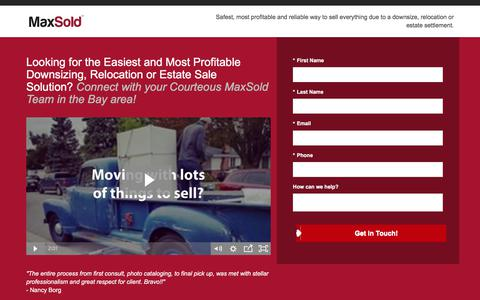 Screenshot of Landing Page maxsold.com - Estate Sales - MaxSold - Get Started - captured April 21, 2018