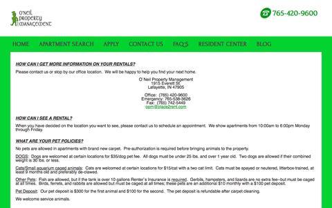 Screenshot of FAQ Page place2rent.com - FAQ`s - captured June 23, 2016