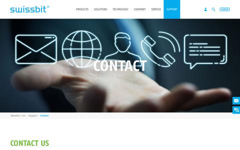 Screenshot of Contact Page swissbit.com - Contact - Swissbit - captured April 21, 2019