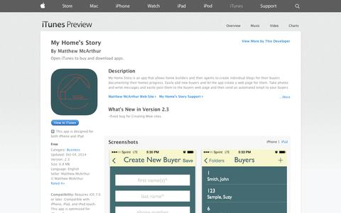 Screenshot of iOS App Page apple.com - My Home's Story on the App Store on iTunes - captured Nov. 5, 2014