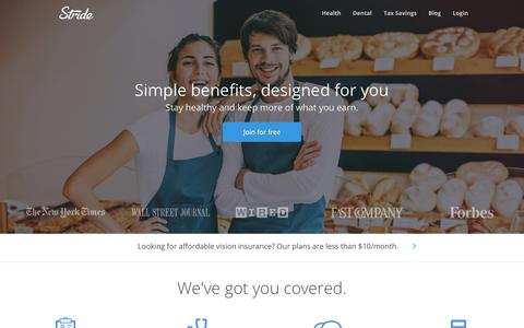 Screenshot of Home Page stridehealth.com - Stride Health - captured Oct. 23, 2017