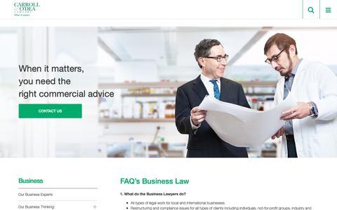 Screenshot of FAQ Page codea.com.au - FAQ's Business Law - Carroll & O'Dea Lawyers - captured Sept. 27, 2018