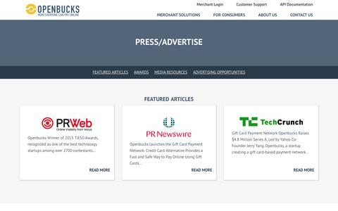 Screenshot of Press Page openbucks.com - Openbucks® - Press/Advertise - captured May 9, 2017