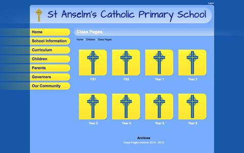 Screenshot of stanselmscatholicprimaryschool.co.uk - Class Pages | St Anselm's Catholic Primary School - captured May 11, 2016