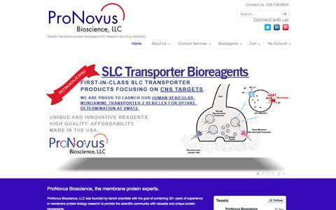Screenshot of Home Page pronovusbio.com - ProNovus Bioscience, LLC | Home - captured Oct. 3, 2014