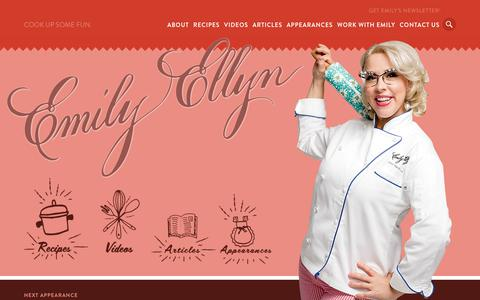 Screenshot of Home Page emilyellyn.com - Emily Ellyn | Retro Rad Chef from Food Network - captured Sept. 22, 2018