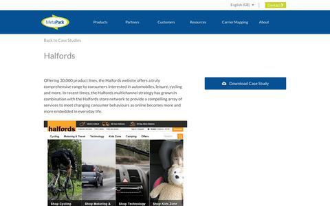 Screenshot of Case Studies Page metapack.com - Halfords - MetaPack Official | eCommerce Delivery Management Software - captured April 29, 2019