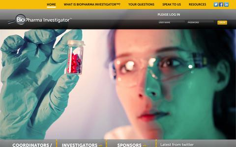 Screenshot of Home Page biopharmainvestigator.com - BioPharma Investigator - captured Oct. 5, 2014