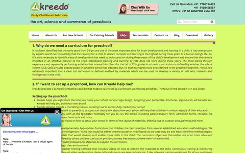 Screenshot of FAQ Page kreedology.com - Setup Preschool| Start Preschool| Open preschool| Run preschool - captured June 9, 2017