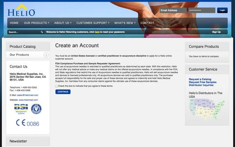Screenshot of Signup Page heliomed.com - Helio Medical Supplies Create New Customer Account Helio Medical Supplies - captured Oct. 2, 2014