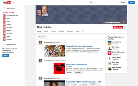 Screenshot of YouTube Page youtube.com - Mark Hibbitts  - YouTube - captured Oct. 23, 2014