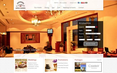 Screenshot of Home Page cambayhotels.com - Cambay Five Star Hotels and Resorts in India, Luxury Hotels, Spa, Golf, Resort India - captured Jan. 24, 2016