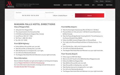 Screenshot of Maps & Directions Page niagarafallsmarriott.com - Niagara Falls Hotel Directions | Marriott Niagara Falls Hotel - captured Oct. 17, 2018