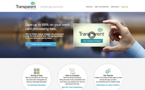 Screenshot of Home Page trytransparent.com - Small Business Credit Card Processing & Merchant Services - captured Oct. 7, 2014