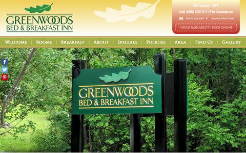 Screenshot of Contact Page Maps & Directions Page greenwoodsinn.com - Find Our Bed and Breakfast Accommodations near Canandaigua New York - captured Oct. 31, 2018