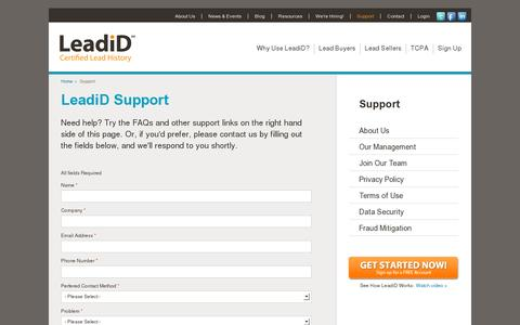 Screenshot of Support Page leadid.com - LeadiD Support - Technical Support - Product Support | LeadiD - captured July 19, 2014