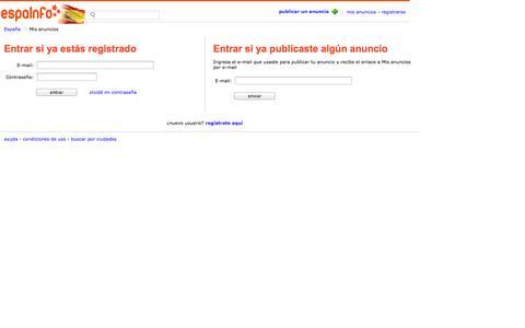 Screenshot of Login Page espainfo.es - EspaInfo.es - buscador de España - captured Oct. 30, 2014