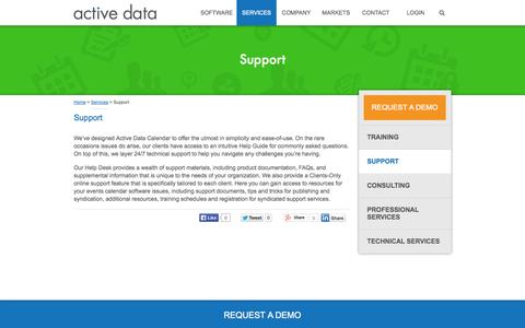 Screenshot of Support Page activedata.com - Events Calendar Software Support | Services | Active Data - captured Sept. 30, 2014