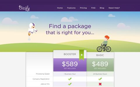 Screenshot of Pricing Page bizify.com.au - Company Registration Price for Australian Companies | Bizify - captured Sept. 30, 2014