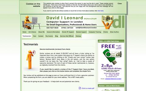 Screenshot of Testimonials Page davidleonard.london - Testimonials • David Leonard - Computer Support in London - captured Feb. 22, 2018