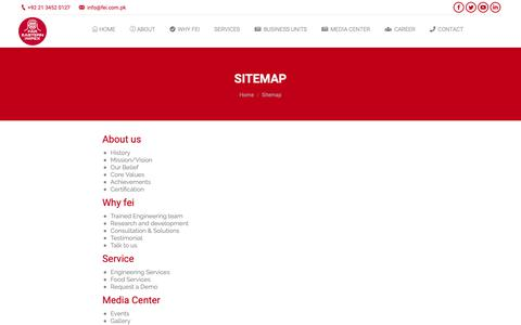 Screenshot of Site Map Page fei.com.pk - Sitemap – Far Eastern Impex - captured Oct. 10, 2018
