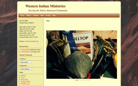 Screenshot of Home Page westernindian.org - Western Indian Ministries   Serving the Native American Community - captured Oct. 9, 2014