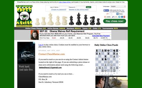 Screenshot of Contact Page chessmaniac.com - Contact ChessManiac.com « ChessManiac - captured Sept. 23, 2014