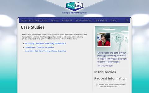 Screenshot of Case Studies Page reedlane.com - Pharmaceutical Contract Packaging | Case Studies | Reed-Lane - captured Oct. 25, 2014