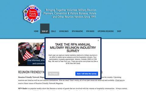 Screenshot of Signup Page reunionfriendly.com - Sign Up  |  Reunion Friendly Network - captured Feb. 25, 2016