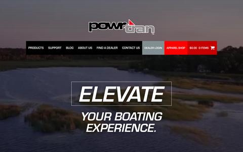 Screenshot of Home Page powrtran.com - Powrtran - Elevate your boating experience! - captured Jan. 27, 2017