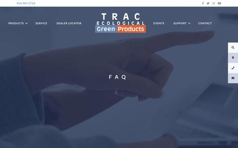 Screenshot of FAQ Page trac-online.com - FAQ – TRAC Ecological | Green Products - captured May 29, 2019