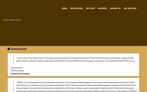 Screenshot of Testimonials Page musicvalleygroup.com - Testimonials - captured Oct. 29, 2014