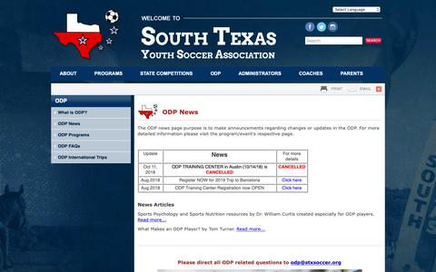 Screenshot of Press Page stxsoccer.org - ODP News   South Texas Youth Soccer Assn - captured Oct. 20, 2018