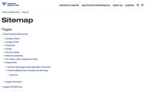 Screenshot of Site Map Page fmcna.com - Sitemap | Fresenius Medical Care - captured Aug. 25, 2018