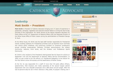 Screenshot of Team Page catholicadvocate.com - Catholic Advocate | Leadership - captured Sept. 29, 2014