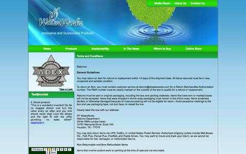 Screenshot of Terms Page pfwaterworks.net - Welcome to permaflow company - captured Sept. 17, 2014