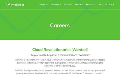 Screenshot of Jobs Page intelepeer.com - Careers - IntelePeer Cloud Communications - captured July 12, 2018