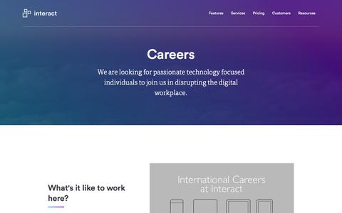Screenshot of Jobs Page interact-intranet.com - Careers | Interact software - captured Feb. 27, 2018