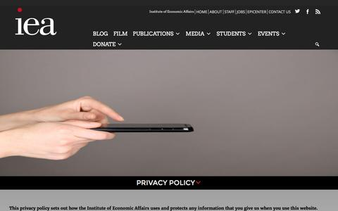 Screenshot of Privacy Page iea.org.uk - Privacy Policy – Institute of Economic Affairs - captured Sept. 5, 2016